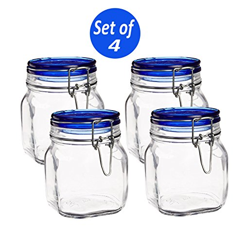 Bormioli Rocco Fido Square Jar with Blue Lid, 25-1/4-Ounce (Set of 4)