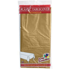 Plastic Party Tablecloths - Disposable, Rectangular Tablecovers - 4 Pack - Gold - By Party Dimensions