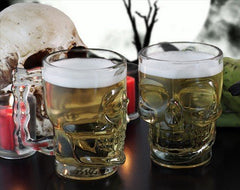 Circleware Clear Heavy Base Glass Skull Face Drinking Mug cup with Glass Handles, 18 Ounce, Limited Edition Glassware, 1 Beer Juice Water Drinking Glass