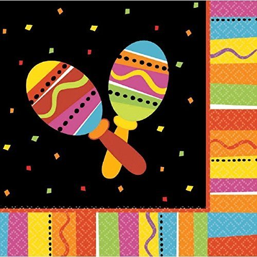 "Fiesta Fun Cinco de Mayo Party 2-Ply Lunch Napkins Tableware, Paper, 6"" x 6"", Value Pack of 32"