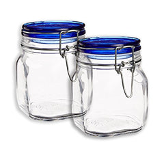 Set OF 2 Bormioli Rocco Fido Square Jars With Blue Bail And Trigger Lids, 25-1/4-ounce