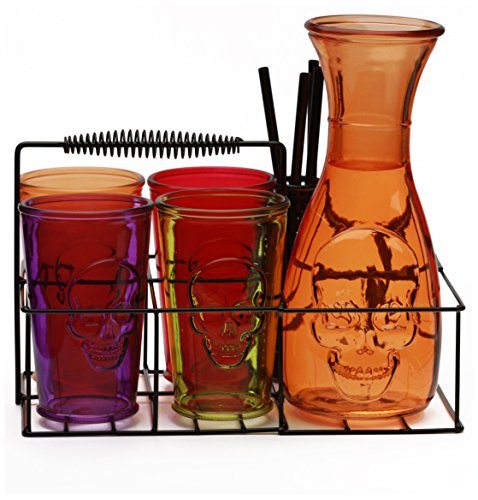Circleware Skullology Glassware/Orange Skull Embossed Carafe/4 Assorted Drinking Glasses/4 Strong Reusable Straws and Black Metal Caddy, Set of 10, 1-38 oz, Clear