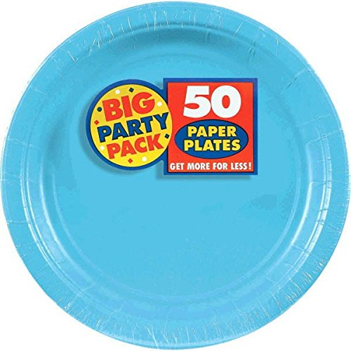 "Big Party Pack Dinner Plates, 50 Pieces, Made from Paper, Caribbean Blue, 9"" by Amscan"
