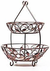 "Circleware 00726 Leaf Design Bronze Metal 2-Tier Round Fruit Storage Wire Display Basket Bowl for Food, Vegetables, Best Selling Home & Kitchen Table Counter Cabinet Gift, 17""x21"", Cyber Monday Deal"