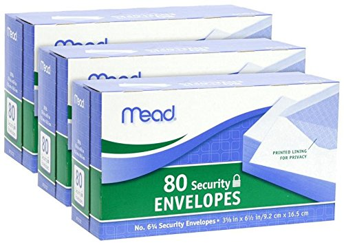 Mead #75212 80CT #6 White Envelope (3pack)