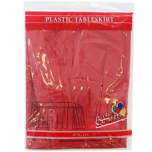 Plastic Table Skirts - 13 Colors- Pack of 2 Select Color: Red