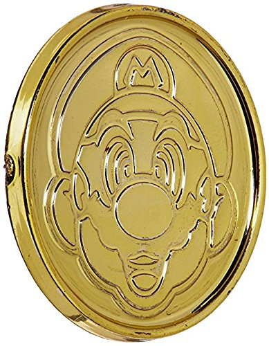 Amscan Super Mario Brothers Birthday Party Coins Favors (36 Pack), 1 3/8 x 1/8, Gold