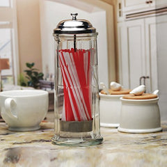 "Circleware 06667 Retro Mia Old Fashioned Glass Beverage Drinking Holder Dispenser Jar with Metal Lid and Red & White Straws, Holds Pencils and Chopsticks, 10.8"" H x 4.1"" W, Vintage"