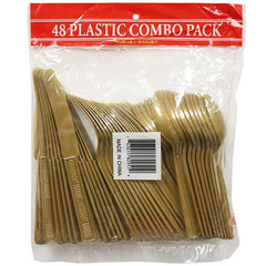 Party Dimensions 48 Count Plastic Cutlery Combo, Gold