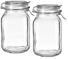 Bormioli Rocco Fido Clear Glass Jar with 85 mm Gasket, 2 Liter (Pack of 2)