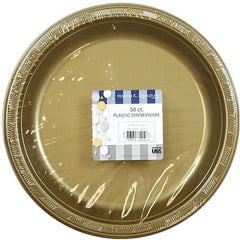 Hanna K. Signature Collection 50 Count Plastic Plate, 10-Inch, Gold