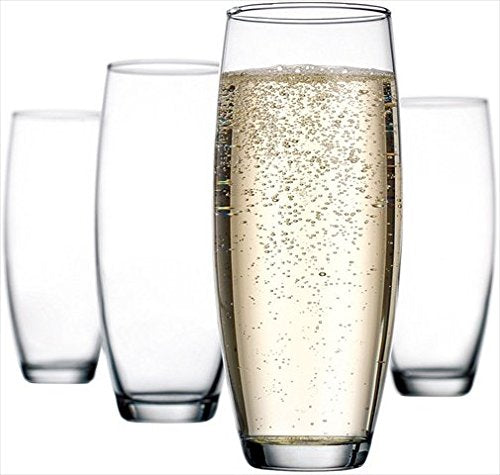 Home Essentials 5016 Set of 4, 10 Oz Stemless Flute