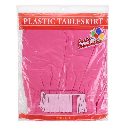 Party Dimensions Single Count Plastic Table Skirt, 29 by 14-Feet, Hot Pink