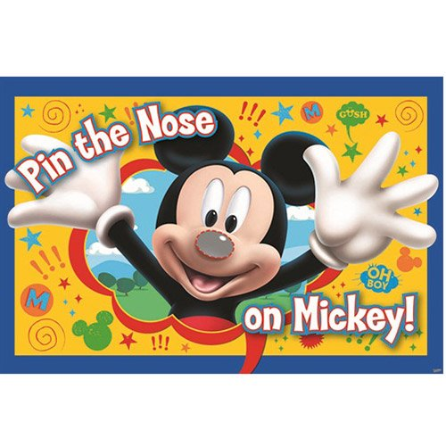 Mickey Party Game, Pin The Nose on Mickey, Multicolored