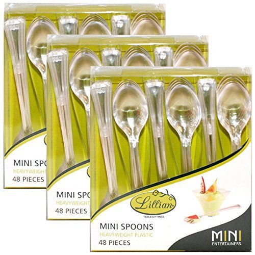 144ct Lillian Tablesettings Clear Plastic Disposable Serving Dessert Mini Spoons Tasting Parties