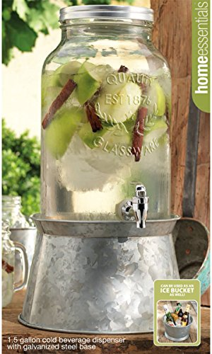 Home Essentials & Beyond 1874 Home Essentials 1.5 Gallon Beverage Dispenser with Galvanized Base, 1.5-Gal, Clear