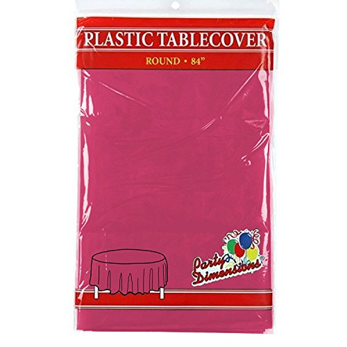 "Hot Pink Round Plastic Tablecloth - 4 Pack - Premium Quality Disposable Party Table Covers for Parties and Events - 84"" - By Party Dimensions"