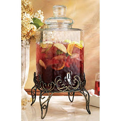 Home Essentials & Beyond 1868 Del Sol Hammered 2.25 gallon Beverage Dispenser with Rack, Clear
