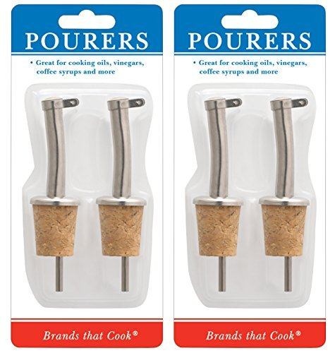 HIC Harold Import Co. 5505C Hic Set of 4 Pourers with Cork Bottom for Oils, Vinegars, Syrups and More.