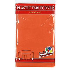 "Orange Round Plastic Tablecloth - 4 Pack - Premium Quality Disposable Party Table Covers for Parties and Events - 84"" - By Party Dimensions"
