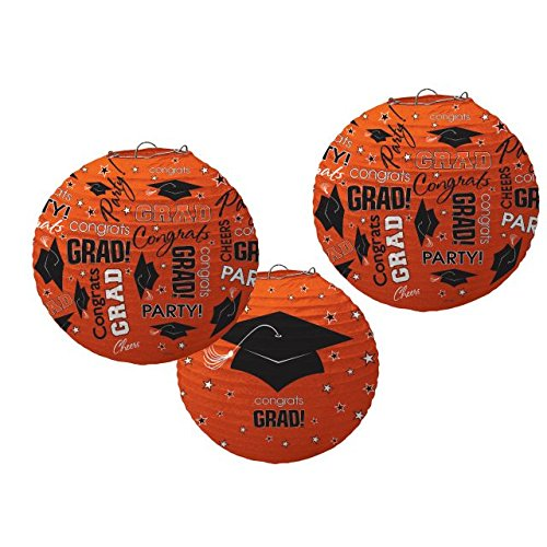 "Amscan School Colors Graduation Party ""Congrats Grad!"" Printed Round Lanterns/Ceiling Decorations - Paper (Pack of 3), Orange/Black & White, 9 1/2"""