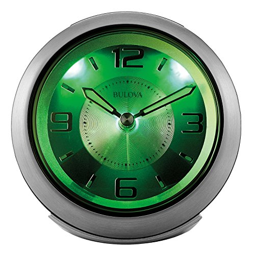 "Bulova Light Night Brushed Silver 3 3/4"" W Alarm Clock"