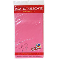 Plastic Party Tablecloths - Disposable, Rectangular Tablecovers - 4 Pack - Hot Pink - By Party Dimensions