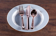 Plastic Cutlery Silverware Extra Heavyweight Disposable Flatware, Full Size Cutlery Combo, Rose Gold, 80 Forks, 40 Spoons, 40 Knifes, Value Pack 160 Count