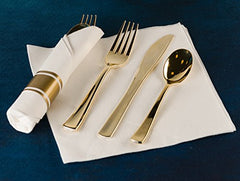 Pre Rollled Cutlery And Napkins Set with Extra Heavy Duty Full Size Polished Gold Cutlery, Fork-Knife-Spoon with White Napkin, Value Pack 60 Count
