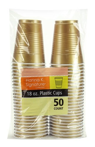 Hanna K. Signature Collection 50 Count Plastic Cup, 18-Ounce, Gold