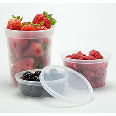 Deli Food Storage Containers with Lids, 8-Ounce, 40-Pack, Leak Proof, Airtight, Microwave & Dishwasher Safe, Stackable, Reusable, And BPA Free