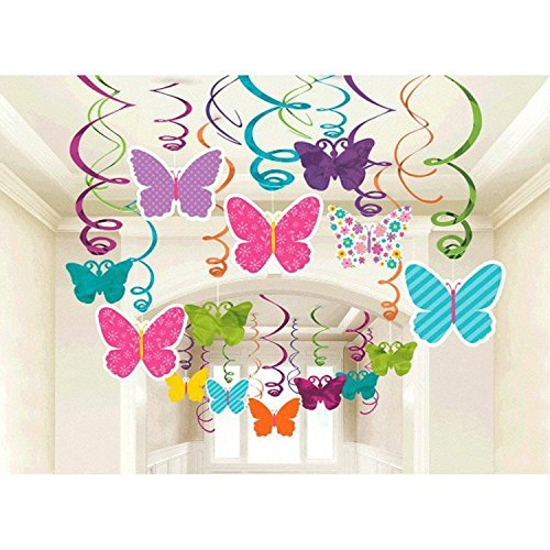 Amscan 670405 Spring Butterfly Party Hanging Swirl Decorations 30pkg (Pack of 30)