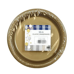 Hanna K. Signature Collection 50 Count Plastic Plate, 7-Inch, Gold