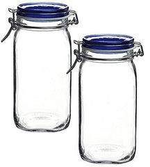 Bormioli Rocco Fido Square Jar with Blue Lid, 1.50 Liter (Pack of 2)