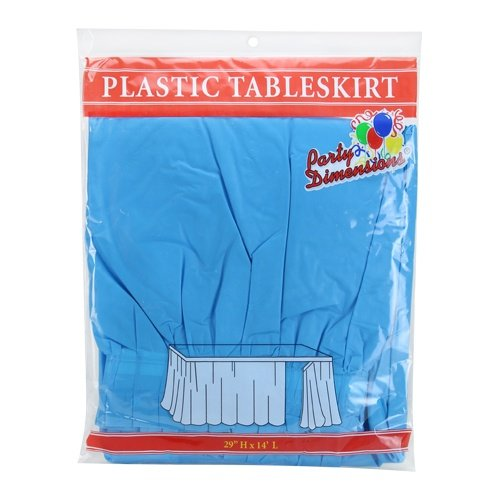 Party Dimensions Single Count Plastic Table Skirt, 29 by 14-Feet, Island Blue