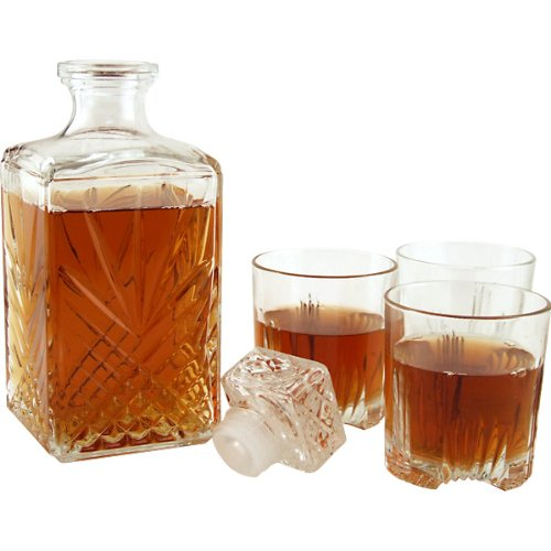 Bormioli Rocco Selecta Collection Whiskey Gift Set – Sophisticated Etched 33.75oz Decanter & 6 9.5oz Glass Tumblers With Starburst Detailing – For Whiskey, Bourbon, Scotch & Liquor
