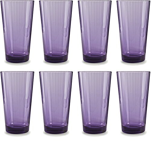 Circleware 44814 Plum Heavy Base Juice Drinking Glasses, Huge Set of 8 Home and Kitchen Entertainment Ice Tea Beverage Cups Glassware for Water, Milk, Beer, Whiskey and Bar Decor Gift, 17 oz, Spectrum