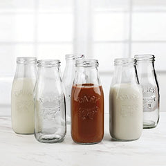Circleware 67039 Dairy Milk Glass Bottles, 10.5 oz, Clear