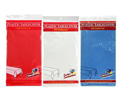 "Party Dimensions 54"" x 108"" Rectangular Tablecovers / Tablecloths - Bundle of 6 - Red, White & Blue"