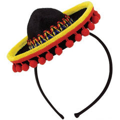 "Cinco De Mayo Fiesta Party Black Spanish Hat With Red Ball Fringe Headband Accessories, Plastic, 8"" x 6"""