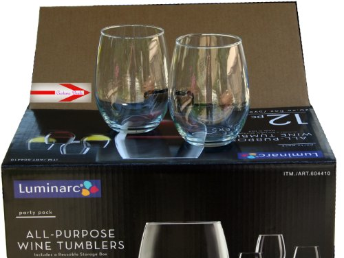Luminarc Stemless Wine Glasses 20oz- Set of 12 Tumblers