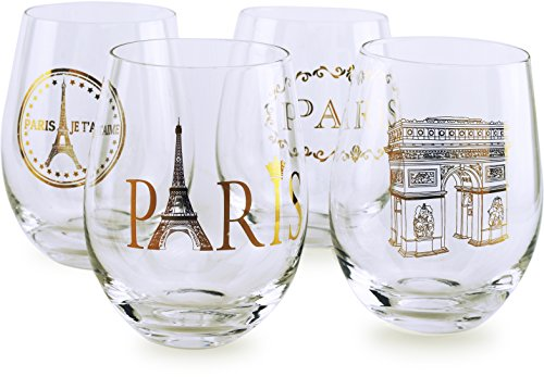 Circleware 77026 Paris Stemless Wine Glasses, Set of 4 Drinking Glassware  for Water, Juice, Beer, Liquor and Best Selling Kitchen & Home Decor Bar ...