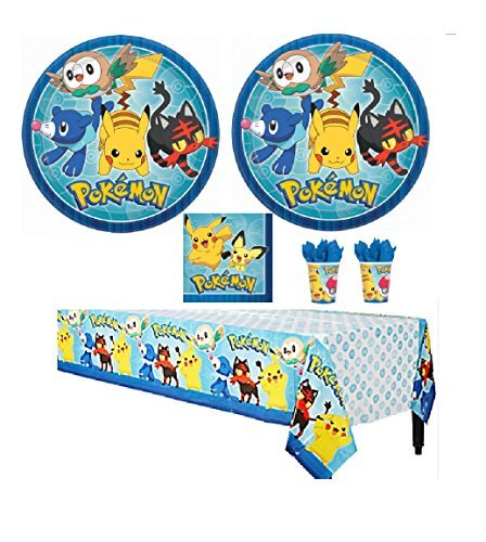 Pokemon Core Party Supply Kit Pack Bundle - 16 Guests Plates, Cups, Napkins, Tablecovers