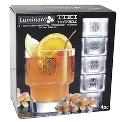 Luminarc 4 Piece Arc International Tiki Decorated Stackable on The Rocks Glasses, 10.5 oz, Clear