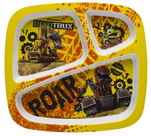 Zak Designs Dinotrux 3-section Kids Plate, Dozer, Revvit & Ty