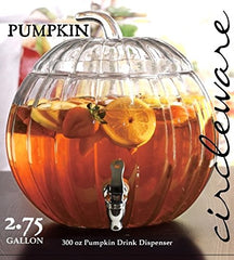 Circleware Pumpkin Clear Glass Beverage Dispenser