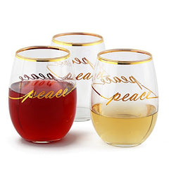 "Luminarc Wine Glasses 17 Ounce Real Gold Rim Luxury Design With Real Gold ""PEACE"" Wine Glass Cachet/Perfection Stemless Red Wine Glasses, (Real Gold Luxury PEACE Design 6 Glasses Box - Gold)"
