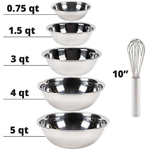 Vollrath Economy Mixing Bowl Set of 5 pcs With Whisk (0.75, 1.5, 3, 4 & 5-Quart, Stainless Steel)