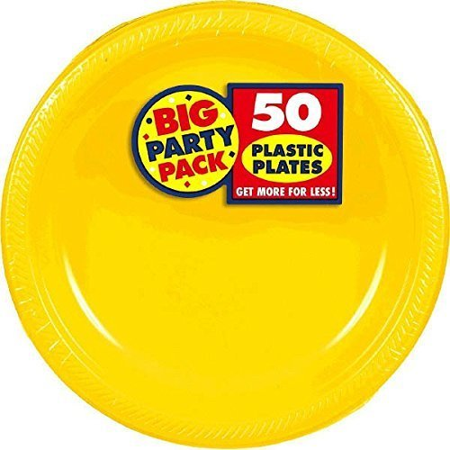 Amscan Big Party Pack 100 Count Plastic Lunch Plates, 10.5-Inch, Sunshine Yellow