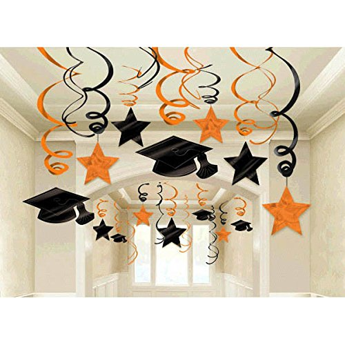 School Colors Graduation Party Swirls With Mortarboards and Diplomas Ceiling Decorations Mega Value Pack, Orange and Black, Plastic, Pack of 30